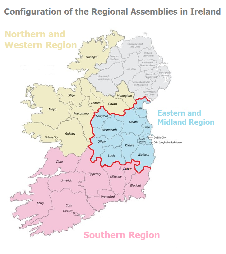 Regional Map Of Ireland.Eastern Midland Regional Assembly Regional Spatial And Economic
